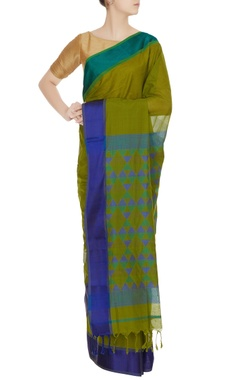 Pinki Sinha Blue & green woven chanderi silk saree with unstitched blouse
