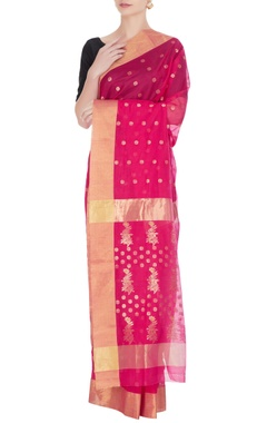 Pinki Sinha Pink woven chanderi silk saree with unstitched blouse