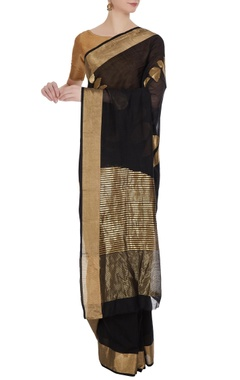 Pinki Sinha Black & gold handloom chanderi silk saree with unstitched blouse