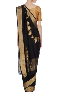 Black & gold handloom chanderi silk saree with unstitched blouse