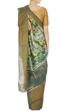 Green digital printed handloom matka silk saree with unstitched blouse