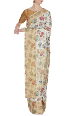 Pinki Sinha Ivory floral digital printed & woven saree with unstitched blouse