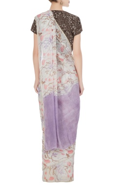 Purple floral batik hand woven linen saree with unstitched blouse