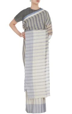 Anavila Cornflower blue & grey striped hand woven linen saree with unstitched blouse