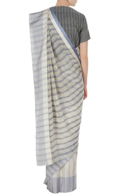 Cornflower blue & grey striped hand woven linen saree with unstitched blouse