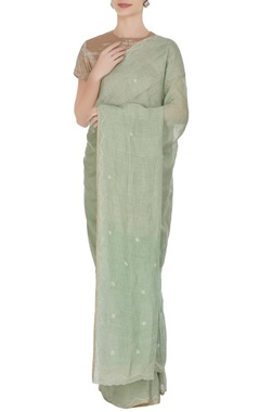 Anavila Sea green cross-stitch linen hand woven saree with unstitched blouse