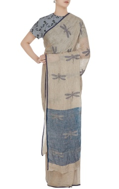 Anavila Natural dragonfly motif hand woven linen saree with unstitched blouse fabric