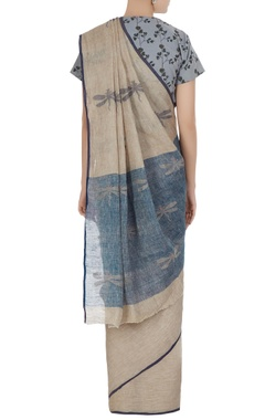 Natural dragonfly motif hand woven linen saree with unstitched blouse fabric