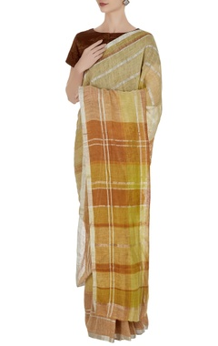 Anavila Corn yellow linen hand woven plaid pattern saree with unstitched blouse