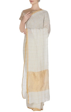 Anavila Ivory hand woven linen saree with gold check pattern with unstitched blouse