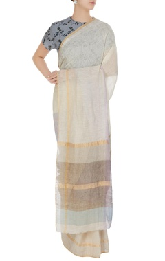 Anavila Mauve hand woven linen summer saree with unstitched blouse
