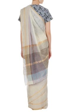 Mauve hand woven linen summer saree with unstitched blouse