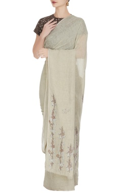Anavila Natural-ivory mayflower block printed saree with unstitched blouse