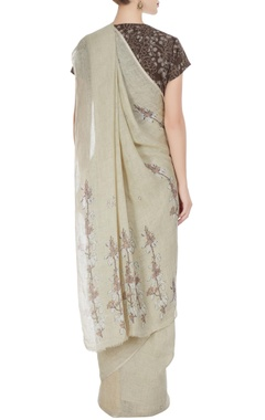Natural-ivory mayflower block printed saree with unstitched blouse