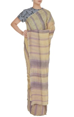 Anavila Lavender & vanilla plaid patterned hand woven linen saree with unstitched blouse
