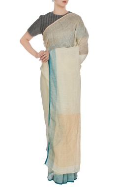 Anavila Beige linen hand woven saree with blue border & unstitched blouse