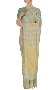 Anavila Green plaid patterned linen hand woven saree with unstitched blouse