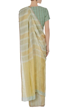 Green plaid patterned linen hand woven saree with unstitched blouse