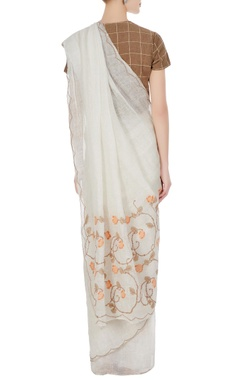 White criss-cross stitch linen hand woven saree with unstitched blouse