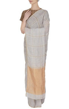Anavila Icy blue linen hand woven check saree with unstitched blouse