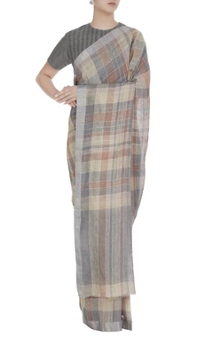 Anavila Grey stripe & check patterned linen hand woven saree with unstitched blouse