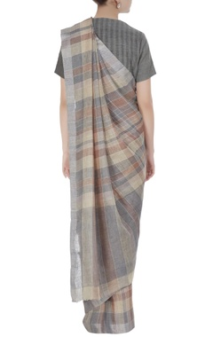 Grey stripe & check patterned linen hand woven saree with unstitched blouse