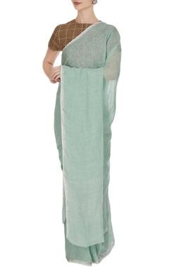 Soft pine green hand-woven linen sari