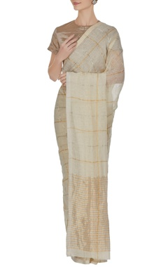 Anavila Ivory grid patterned hand woven linen saree with unstitched blouse