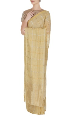 Anavila Vanilla hand woven linen saree with unstitched blouse