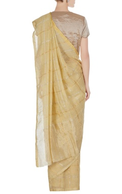 Vanilla hand woven linen saree with unstitched blouse