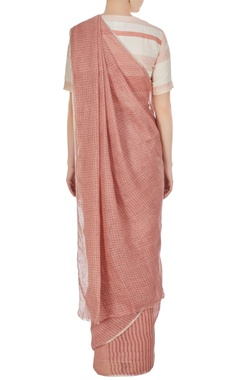 Pink stripe & check patterned linen hand woven saree with unstitched blouse