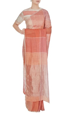 Anavila Salmon pink & peach gingham hand woven linen check saree with unstitched blouse