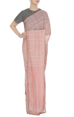 Anavila Salmon pink gingham check hand woven linen saree with unstitched blouse