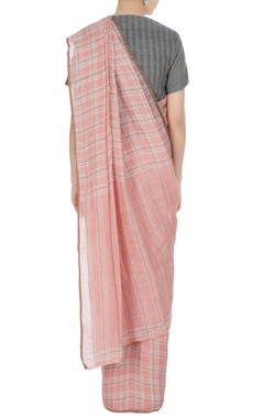 Salmon pink gingham check hand woven linen saree with unstitched blouse