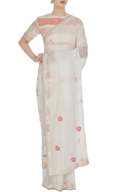 Anavila White floral cross-stitch hand woven linen saree with unstitched blouse