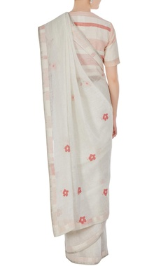 White floral cross-stitch hand woven linen saree with unstitched blouse