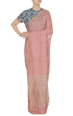 Anavila Pink linen hand woven linen saree with unstitched blouse