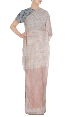 Anavila Peach summer-y plaid linen hand woven saree with unstitched blouse