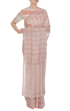 Anavila Pink check patterned linen hand woven saree with unstitched blouse
