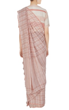 Pink check patterned linen hand woven saree with unstitched blouse