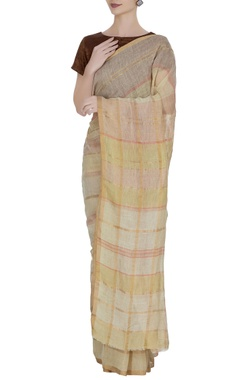 Anavila Vanilla linen hand woven grid pattern saree with unstitched blouse