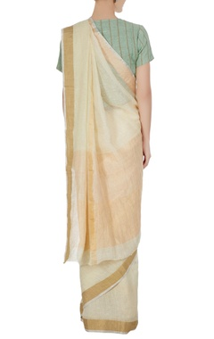 Vanilla linen hand woven zari work saree with unstitched blouse