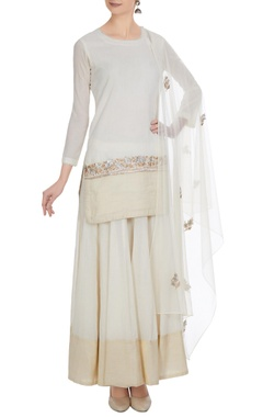 White cotton embroidered short kurta with flared long skirt & embroidered dupatta