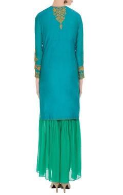 Blue chanderi embroidered kurta with green chanderi gharara & dupatta