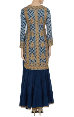 Blue cotton embellished knee-length kurta with royal blue gharara & dupatta