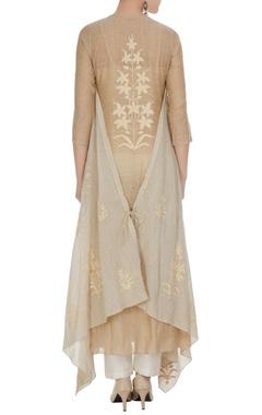 Light brown cotton embroidered asymmetric kurta