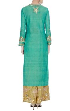 Teal blue embroidered long kurta with golden palazzos & dupatta