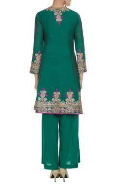 Teal green chanderi embroidered kurta with palazzos & pink dupatta