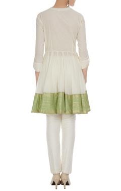 White cotton golden striped & tasseled blouse