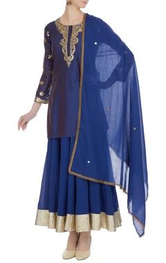 Royal blue sequin embroidered chanderi silk kurta & skirt set